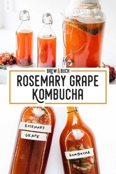 Home Brewed Rosemary Grape Kombucha! Kombucha Flavors, Kombucha Fermentation, Kombucha Drink, Kefir, Vegetarian Recipes Easy, Healthy Recipes, Vegetarian Food, Best Non Alcoholic Drinks, Cooking