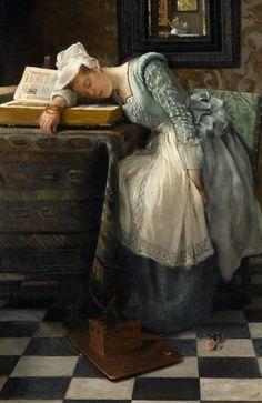 """The World of Dreams"", 1876 Painting by Laura Theresa Alma-Tadema,  British, 1852 - 1909"