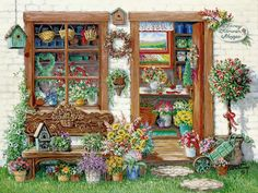 Janet Kruskamp's Paintings - Fancy Flower Shoppe, a painting of the outside of the Fancy Flower Shoppe, with a glimpse in the open front doo...
