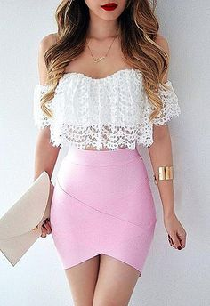 fashion, pink, and outfit image Mode, Rosa und Ausstattungsbild Skirt Outfits, Casual Outfits, Summer Outfits, Cute Outfits, Bandage Skirt Outfit, Casual Dresses, Classy Sexy Outfits, Ladies Outfits, Summer Dresses