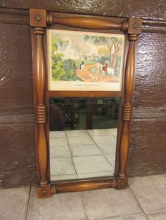 Nice vintage wood pillar frame with mirror and top print - Summer in the Country- solid, functional, ready to hang, good condition by HeathersCollectibles on Etsy