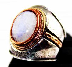 Sterling silver and bronze men ring. naturel moonstone stone . handmade, stone Eskişehir Anatolian region