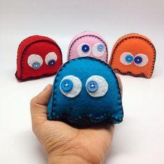 Pacman's ghosts handmade in felt - toy decor - fiber toys -
