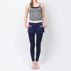 裏毛カラーブロックショートパンツ - ヨガウェア Yoga and Relax wear Julier ヨガ&リラックス ウェア ジュリエ