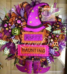 Happy Haunting Witch Halloween deco mesh Wreath by DzinerDoorz