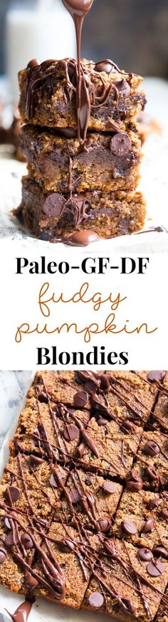 These fudgy pumpkin blondies are a dream! They're chewy sweet packed with chocolate and warm spices. Family approved perfect for fall baking or any time of year. These addicting pumpkin blondies are paleo dairy-free and gluten-free. These fudgy pumpkin Gluten Free Sweets, Paleo Dessert, Healthy Dessert Recipes, Dairy Free Recipes, Healthy Desserts, Whole Food Recipes, Delicious Recipes, Cake Recipes, Paleo Baking