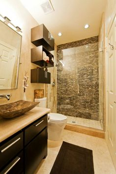 Standard bathroom - shower only. Quiet with the exception of accent wall on shower. No wall cabs.