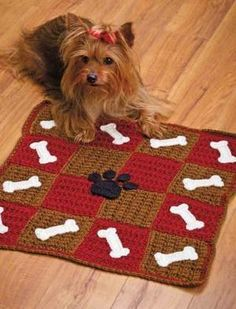 W459 Crochet PATTERN ONLY Checkerboard Cat & Dog Pet Mats Patterns