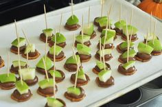 Green apple chunks, melted Rolo candies, all on top of a salty pretzel. The perfect party treat!