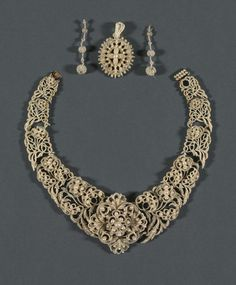 Necklace, Pendant, Earrings, circa 1850 seed pearl, mother of pearl