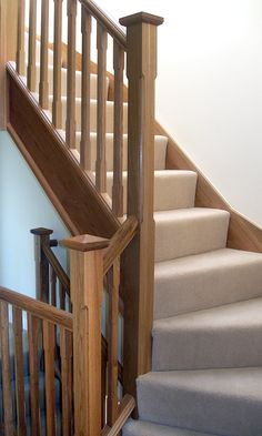 Oak staircase...Love! Bespoke Staircases, Wooden Staircases, Stairways, Railing Design, Staircase Design, Staircase Ideas, Hallway Ideas, Oak Furniture Land, House Furniture