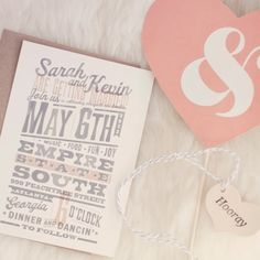Pink & grey invitations // photo by: Our Labor Of Love // Invitations: Dapper Paper // http://www.theknot.com/weddings/album/an-old-world-romance-wedding-in-atlanta-ga-133492
