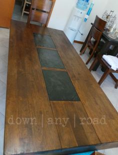 Feature Friday Faux Wood Inlay Woods Tutorials And Craft - Dining table with slate inlay