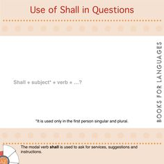 Shall is a modal verb used in question form to ask for instructions or for formulating requests in a polite way.