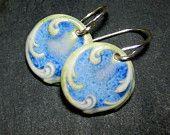 Porcelain Earrings Elegant Swirl In Glaicer Blue With Sterling Silver Earwires