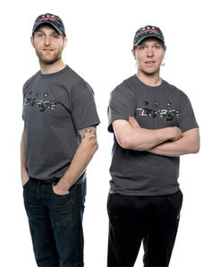 Karl Alzner and Nicklas Backstrom model the 2014 Courage Caps shirts and hats to raise money for the Tragedy Assistance Program for Survivors.