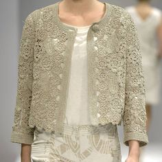 Wear a lace cardigan today! See how a lace cardigan can give your added appeal right here. Gilet Crochet, Crochet Cardigan Pattern, Crochet Jacket, Freeform Crochet, Crochet Blouse, Lace Cardigan, Thread Crochet, Crochet Patterns, Beau Crochet