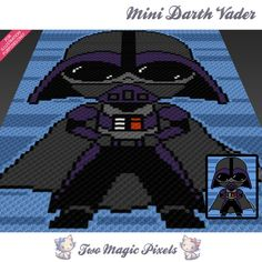 Mini Darth Vader crochet blanket pattern; c2c, knitting, cross stitch graph; pdf download; no written counts or row-by-row instructions by TwoMagicPixels, $3.79 USD