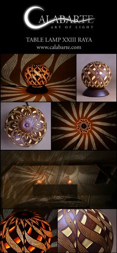 Table lamp XXIII Raya by Calabarte. Fully handcrafted lamp made of Senegalese gourd.