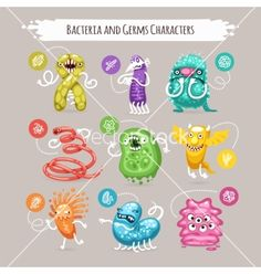Bacteria and germs characters set vector - by Voysla on VectorStock®