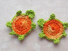 Crochet Turtle Appliques - Variegated Orange