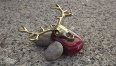 Deer skull fused glass pendant by PiecesofhomeMosaics on Etsy, $18.95