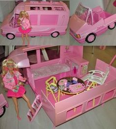 Barbie Motorhome by Mattel, 1991 - This motorhome is just too unrealistic for me. My favorite Barbie motorhome is still the GMC Star Traveler from the - Paige Jordan - Deep Nostalgia Camping Barbie, Barbie Camper Van, Barbie Dolls, Barbie Caravan, 1980s Barbie, Pink Barbie, 90s Toys, Retro Toys, Vintage Toys 80s