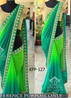 Buy Padding Georgette Green & Aqua Green Designer Saree