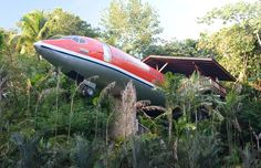 Hotel Costa Verde – Manuel Antonio, Costa Rica  For a view that will make you feel like you're flying – or make you desperate for a sick bag – book yourself into Hotel Costa Verde's extraordinary Fuselage Treehouse in Costa Rica's Manuel Antonio National Park, where a vintage Boeing 727 has been turned into a swanky holiday residence, hovering 50 feet (15 meters) above ground.