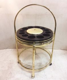Greystone Fine Furniture - Retro Round Two Tier Bar Cart with Built in Ice Bucket $350
