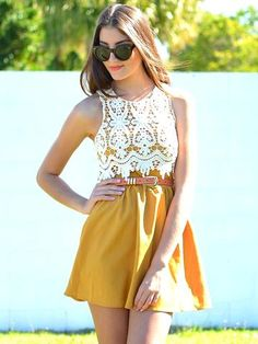 Crochet Mustard Fashion Dress... USM dress!