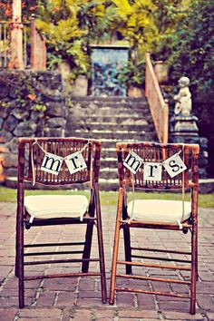 Mr. and Mrs. Banner / Sign / Custom Colors Chair hang or Photo Prop Garland Wedding Banners See It on www.stylemepretty.com on Etsy, $11.99