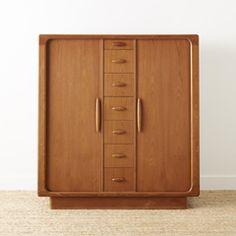 vintage danish modern teak tambour front wardrobe dresser