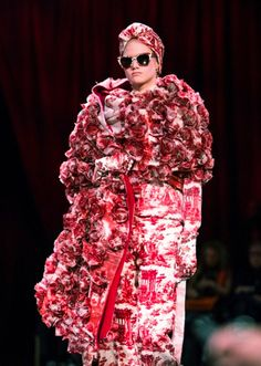 Detailed print clad with fabricated roses at Undercover AW14 PFW. Shot by Jacques Habbah. More images here: http://www.dazeddigital.com/fashion/article/19045/1/undercover-aw14