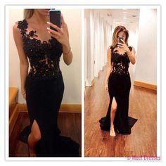 Mermaid Prom Dresses,Black Lace Prom Dress,Slit Prom dress,Modest Evening Gowns,Cheap Party Dresses,Graduation Gowns PD20185244