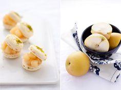 almond & pistachio macaron with asian pear & mascarpone cream