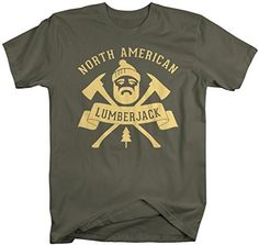 Lumberjacks have one of the most difficult labor intensive jobs! Show your woodsman/woodswoman you appreciate their hard work with a custom t-shirt! This shirt reads 'North American Lumberjack' and fe Lumberjack Outfit, Tent Campers, Camping Humor, Funny Camping, Full Beard, Hipster Shirts, Womens Size Chart, Custom T, Shirt Designs