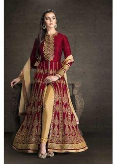 marron banglori couleur costume Anarkali de soie, -, 119,00 € #Robeindou #Robebollywood #Tenueindienne #Shopkund