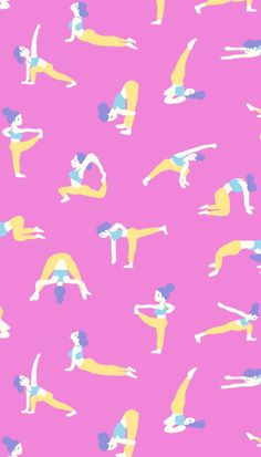 Yoga poses Workout illustration Pattern Design by Canigrin Shop this Fabric on Spoonflower http://www.spoonflower.com/collections/160253-yoga-by-canigrin