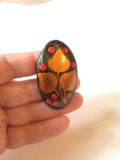 Gold leaf wooden hand painted ring upcycled wooden by PokeysWorld