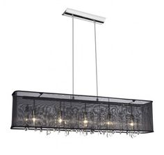 #office    Dainolite - 5 Light Crystal Chandelier with Black Rectangular Organza Shade - Polished Chrome - 85303A-PC-CRY-44710-115