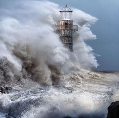 Lighthouses in HUGE storms! Biggest waves ever ☄ #nature