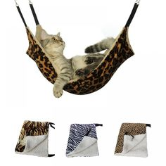 SUPREPET Hanging Cat Hammock Pet Supplies Cat Sleeping Bag Pet Cat Cage Breathable Double-sided Available Warm Cat Bed Mat - Petnr - Animals wild, Animals cutest, Animals funny, Animals drawings Chinchilla, Ferret Cage, Cat Cages, Pet Hammock, Hanging Hammock, Gatos Cat, Fur Bedding, Puppy Beds, Dog Bed