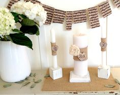 Unity Candle Personalized 7 Piece White Wood Set with Flower and Burlap Mat by AllLavenderandLove on Etsy https://www.etsy.com/listing/128249011/unity-candle-personalized-7-piece-white