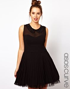 ASOS CURVE Pleated Dress with Embellished Collar