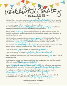 The Wholehearted Parenting Manifesto by Brene Brown