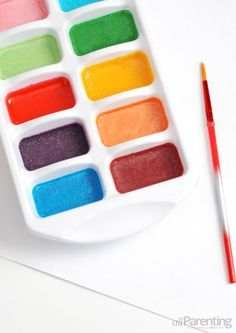 Homemade Watercolors Ingredients: Baking soda, Vinegar, Cornstarch, Corn syrup, Spouted mixing bowl, Measuring cups, Whisk, Food coloring, Ice cube tray