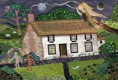 Albion in Sussex: Blake's Cottage,  Felpham by Amanda White. (Cut paper collage). William Blake lived here 1800-1803.