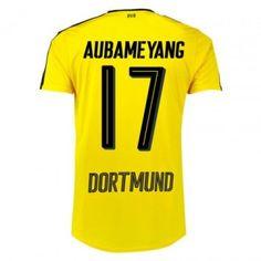 Dortmund 16-17 Pierre-Emerick Aubameyang 17 Hemmatröja Kortärmad  #Fotbollströjor