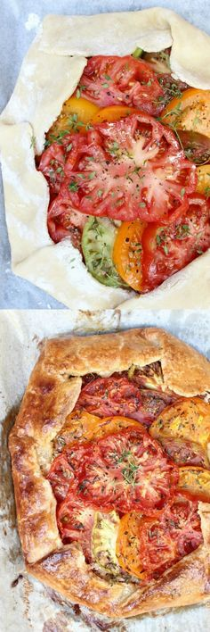 The best way to use your tomato surplus, Heirloom Tomato Galette w/ Honeyed Goat Cheese, Caramelized Shallots, & Fresh Thyme is as tasty as it is stunning! Enjoy for brunch, dinner or serve as a party appetizer. Everyone loves this recipe!